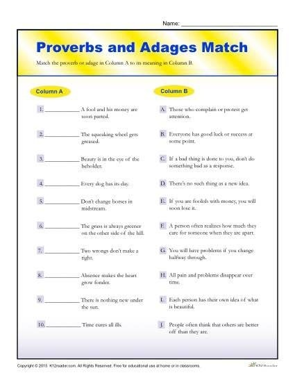 Proverbs And Adages Match Worksheet For Th And Th Grade