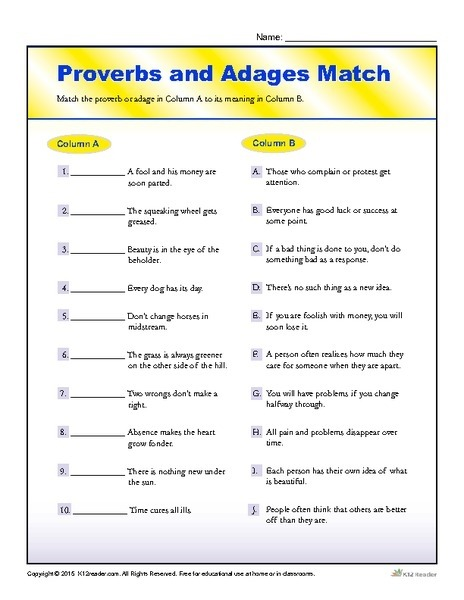 Proverbs And Adages Match Worksheet For Th Th Grade Lesson In