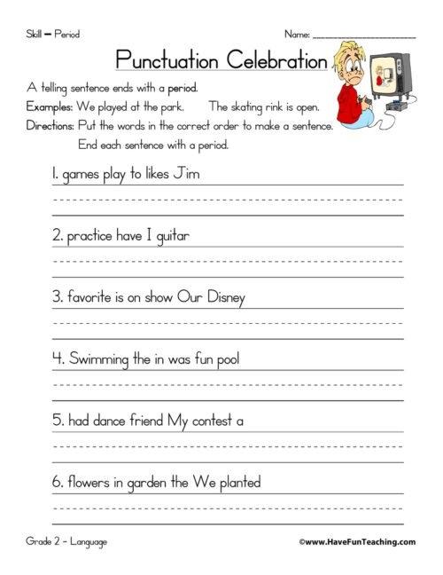 Punctuation Worksheets For 2nd Graders - Worksheets Master