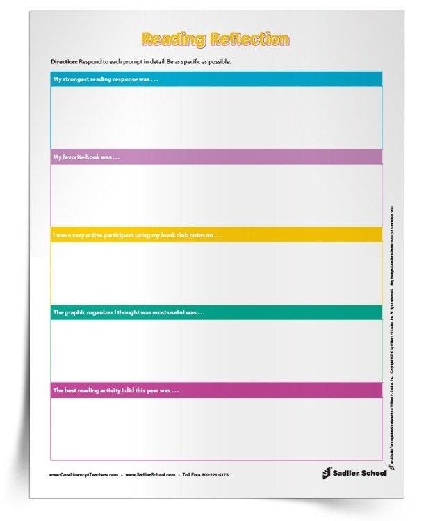Reading Reflection Worksheet