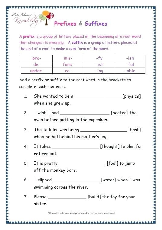Root Words And Affixes Worksheets Leter Grade English Prefix