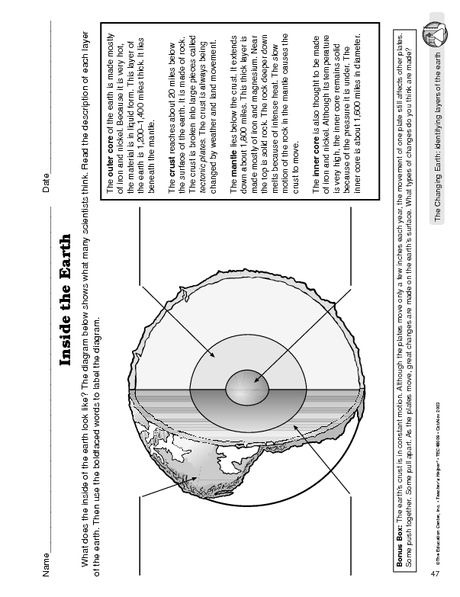 Science Worksheet Layers Of The Earth