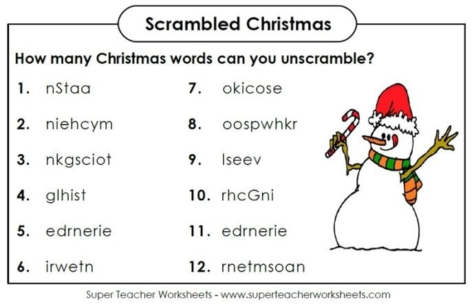 Scrambled Christmas Halloween Super Teacher Worksheets Scramble