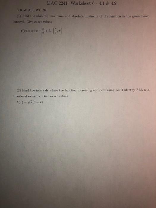 Solved Mac  Worksheet