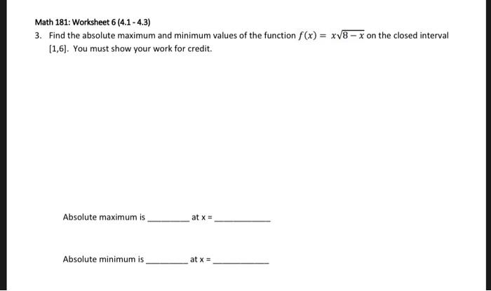 Solved Math  Worksheet