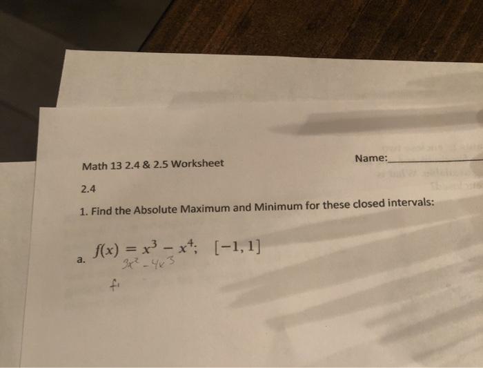 Solved Name Math      Worksheet   Find The
