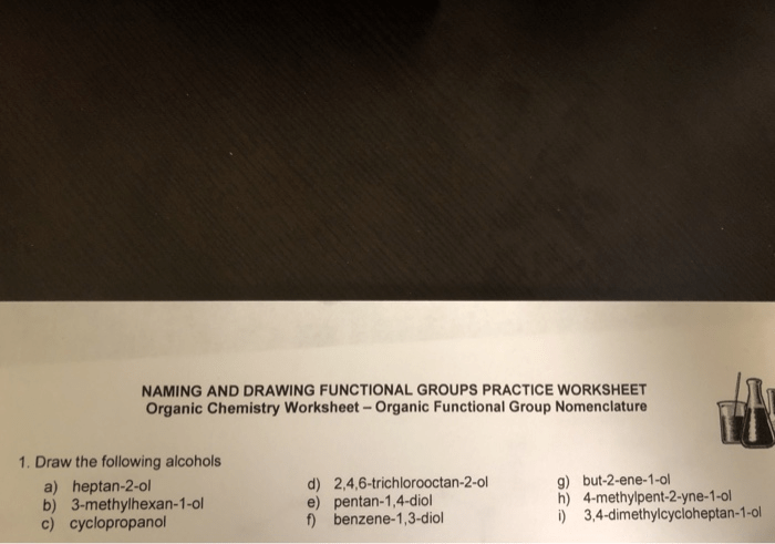 Solved Naming And Drawing Functional Groups Practice Work