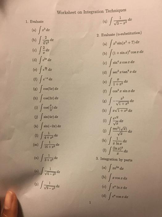 Solved Worksheet On Integration Techniques  Evaluate A