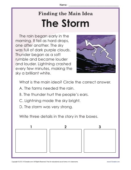 St Or Nd Grade Main Idea Worksheet About Storms Practice