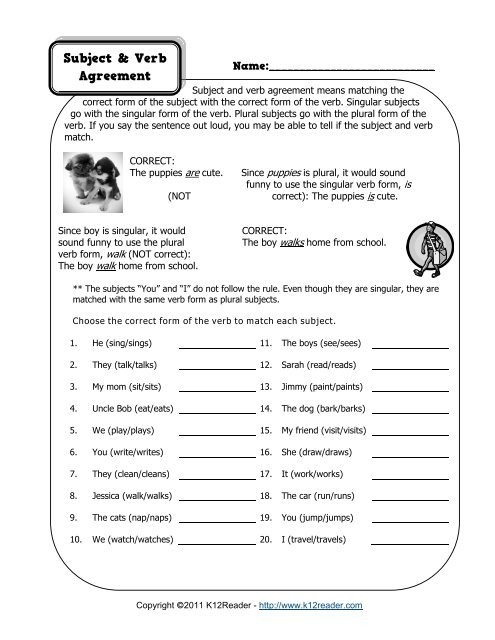 Subject And Verb Agreement Worksheet