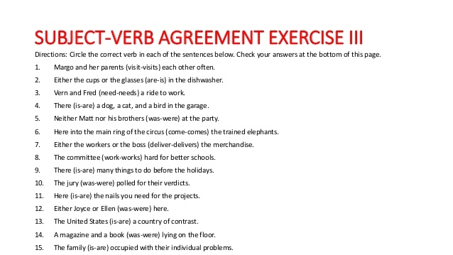 Subject Verb Agreement Rules And Exercise With Answer Worksheets