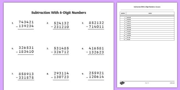 Subtraction With  Digit Numbers Teacher Made
