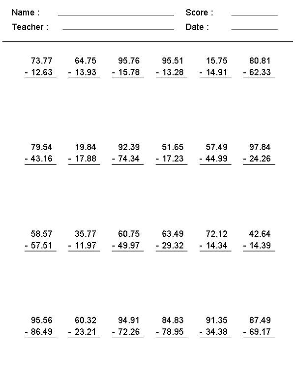 Th Grade Math Worksheets Subtraction