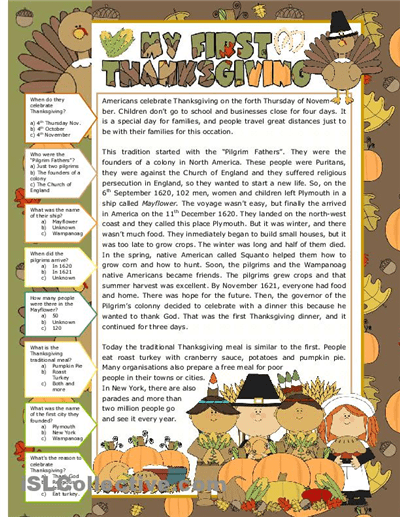 Thanksgiving Worksheets For Middle School