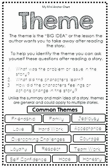 Theme Worksheets Middle School Pdf Fresh Main Idea Worksheets Pdf