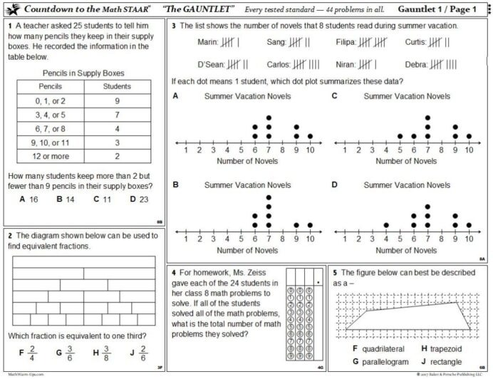 Worksheet Math Staar Prep Test Review Mathwarm Ups Rd Standard