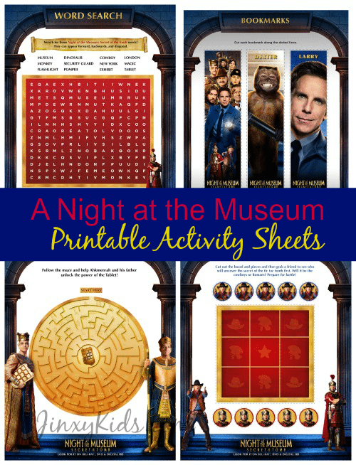 A Night At The Museum Printable Activity Sheets  Secret Of The