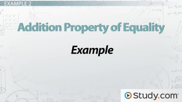 Addition Property Of Equality Definition   Example