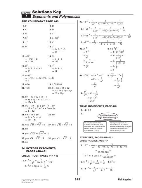 Answers To Holt Chapter