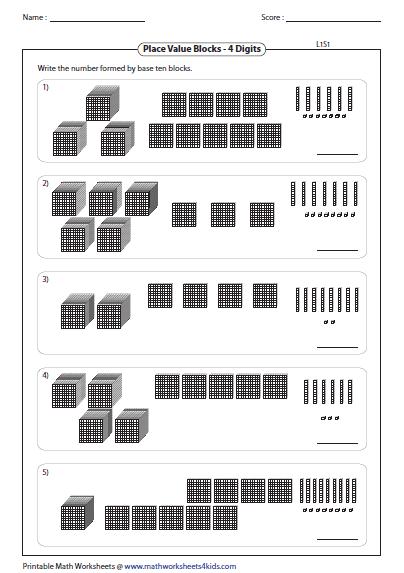 Base Ten Blocks Thousands  Hundreds  Tens  And Ones