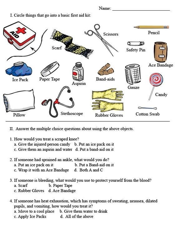 Basic First Aid Worksheets