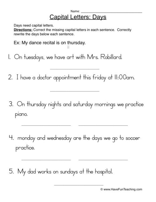 Capitalization Worksheets Have Fun Teaching Grade Capital Letters