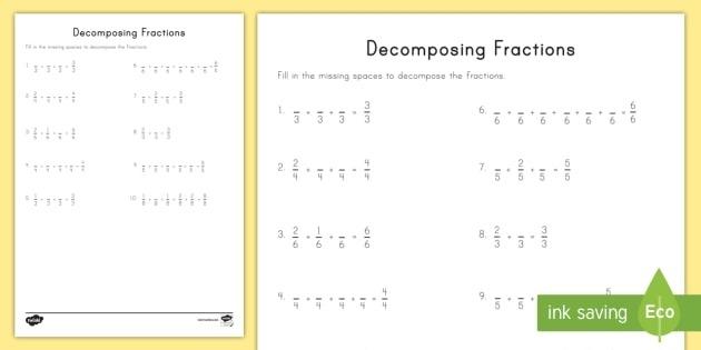 Decomposing Fractions Worksheet  Worksheet