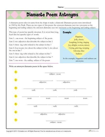 Diamante Poem Antonyms Poetry Worksheet Remarkable Practice