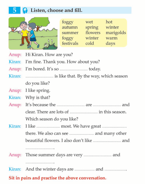 English Lesson Grade  Seasons  Weather And Festivals