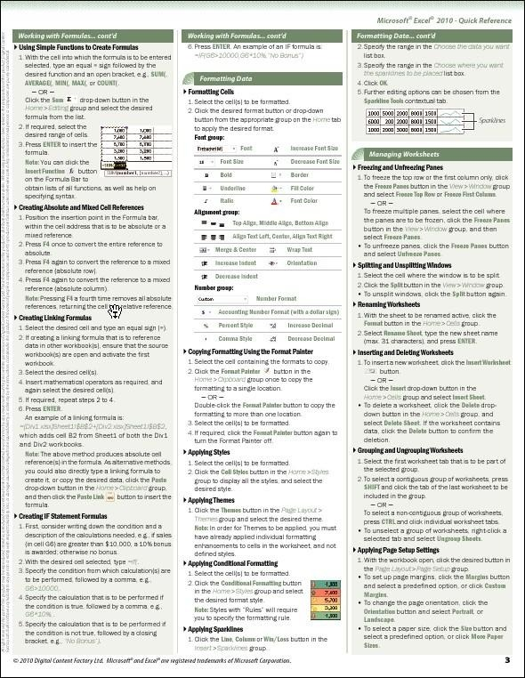 Excel  Quick Reference Guide  Digital Content Factory Ltd