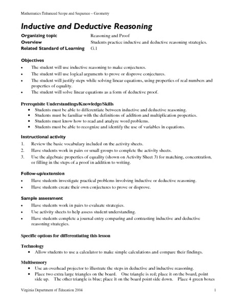 Excelent Inductive And Deductive Reasoning Math Worksheets