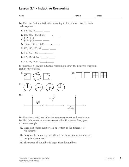 Excelentnductive And Deductive Reasoning Math Worksheets Lesson