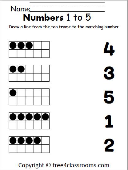 Free Number Matching Worksheet