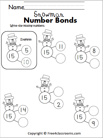 Free Winter Math Number Bonds Worksheet