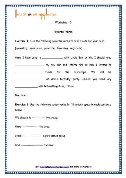 Grade  English Resources Printable Worksheets Topic Powerful