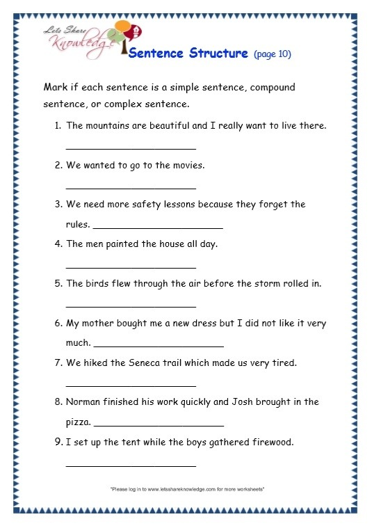 Grade  Grammar Topic  Sentence Structure Worksheets  Lets
