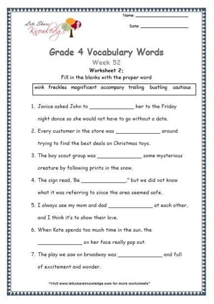 Grade  Vocabulary Worksheets Week