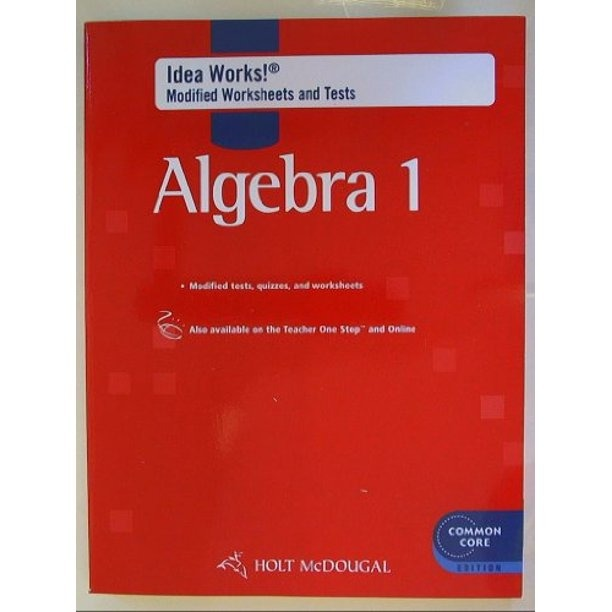 Holt Mcdougal Algebra  Idea Works Modified Worksheets