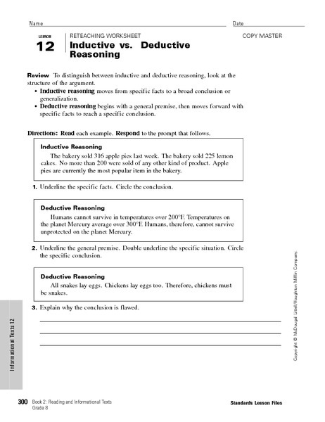 Inductive Vs Deductive Reasoning Worksheet For Th Th Grade