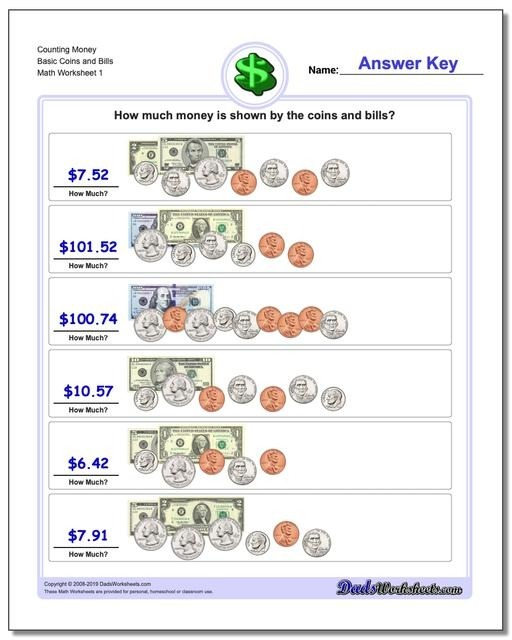 Money Coin Worksheets First Grade Counting Basic Coins And Bills