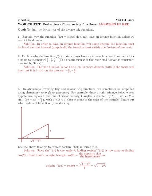 Name Math  Worksheet Derivatives Of Inverse Trig Functions