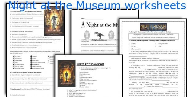 Night At The Museum Worksheets