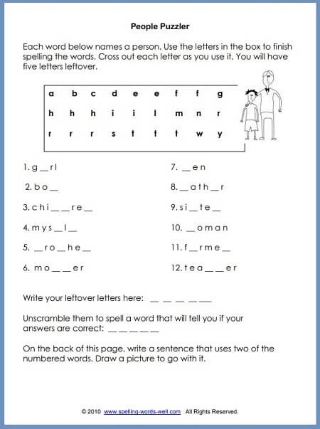Second Grade Worksheets For Language Learning Fun People Puzzler