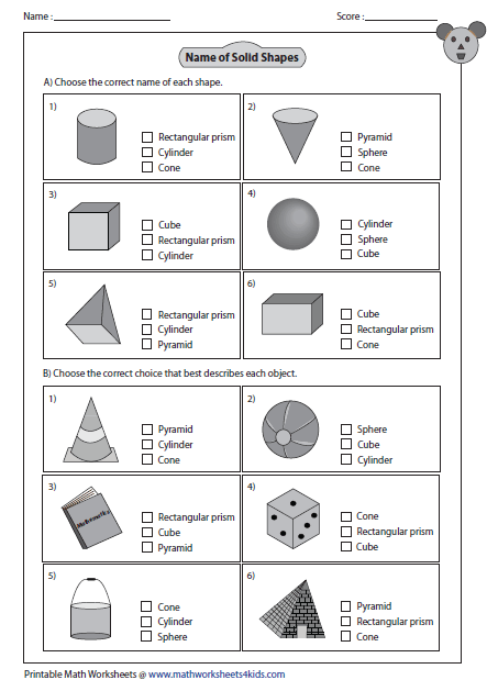 Solid D Shapes Worksheets