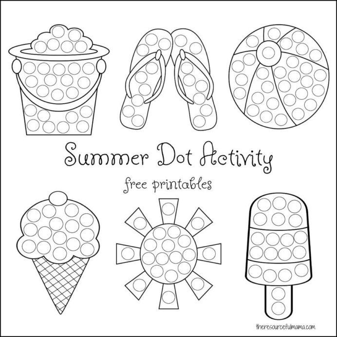 Summer Dot Activity Free Printables Preschool Keeping Kids Busy