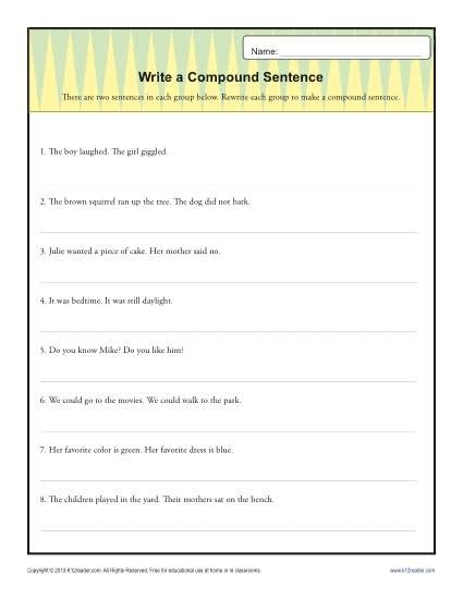 Write Compund Sentence Structure Worksheets Th Grade Gr Compound