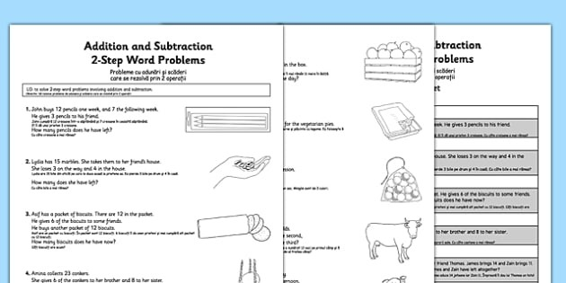Addition And Subtraction Word Problems Worksheet  Worksheet Year