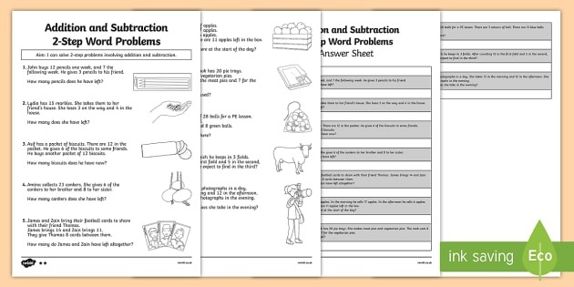 Addition And Subtraction Word Problems Worksheet Year