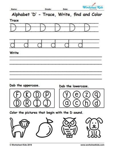 Alphabet Letter D Trace Write Find Color