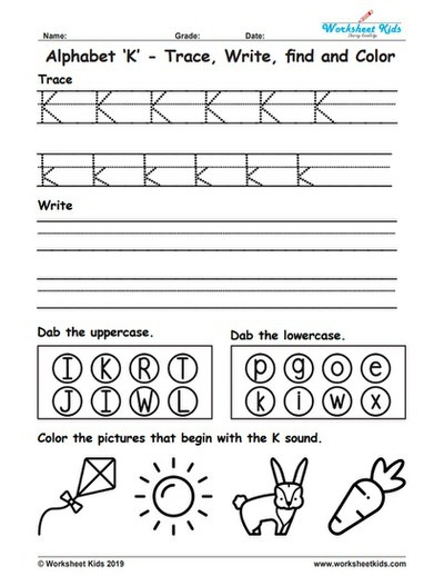 Alphabet Letter K Trace Write Find Color